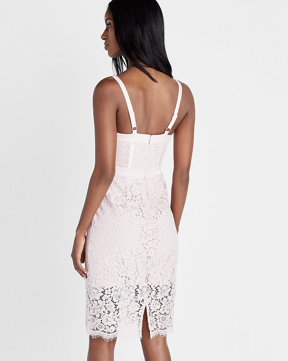 22b740fc Express Corded Lace Bustier Sheath Dress in Pink - Lyst
