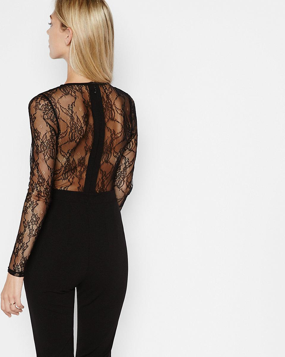 Express Black Lace Back And Sleeve Jumpsuit In Black Lyst
