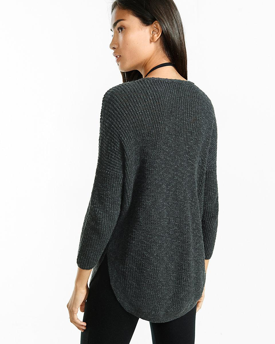 Circle Sweater: Express Zip Front Extreme Circle Hem Sweater Tunic