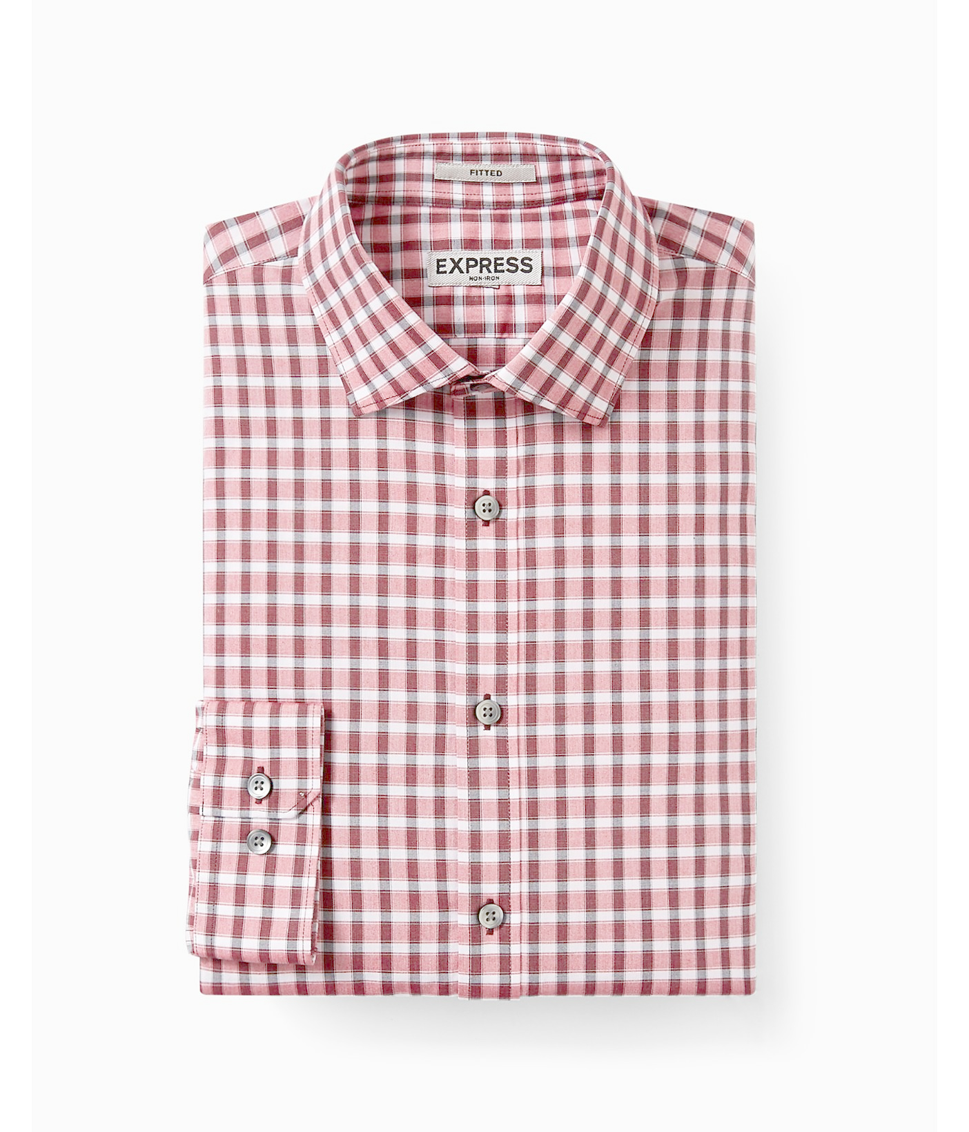 express fitted check non iron dress shirt in red for men