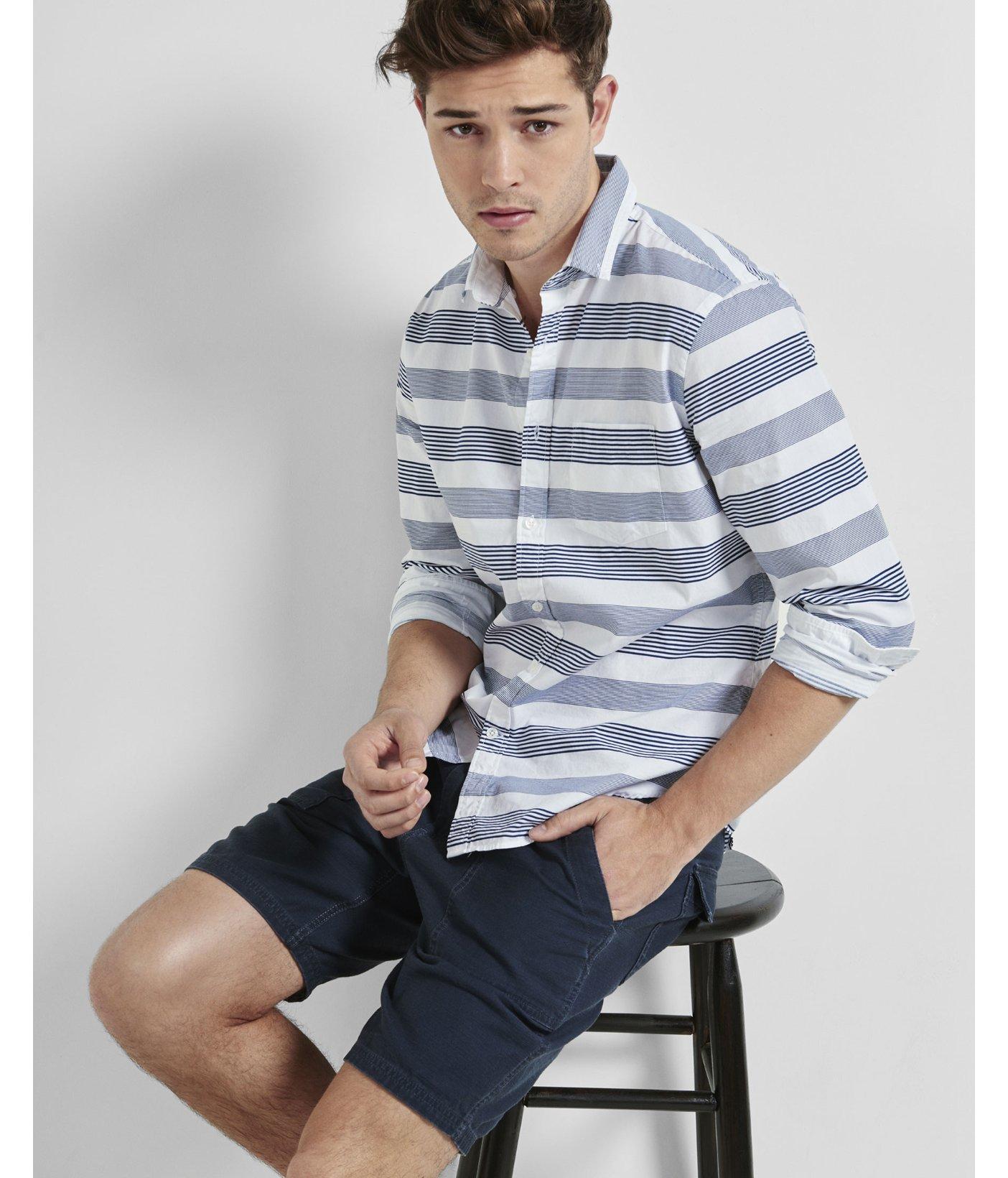 Express horizontal stripe blue button down collar shirt in for Horizontal striped dress shirts men