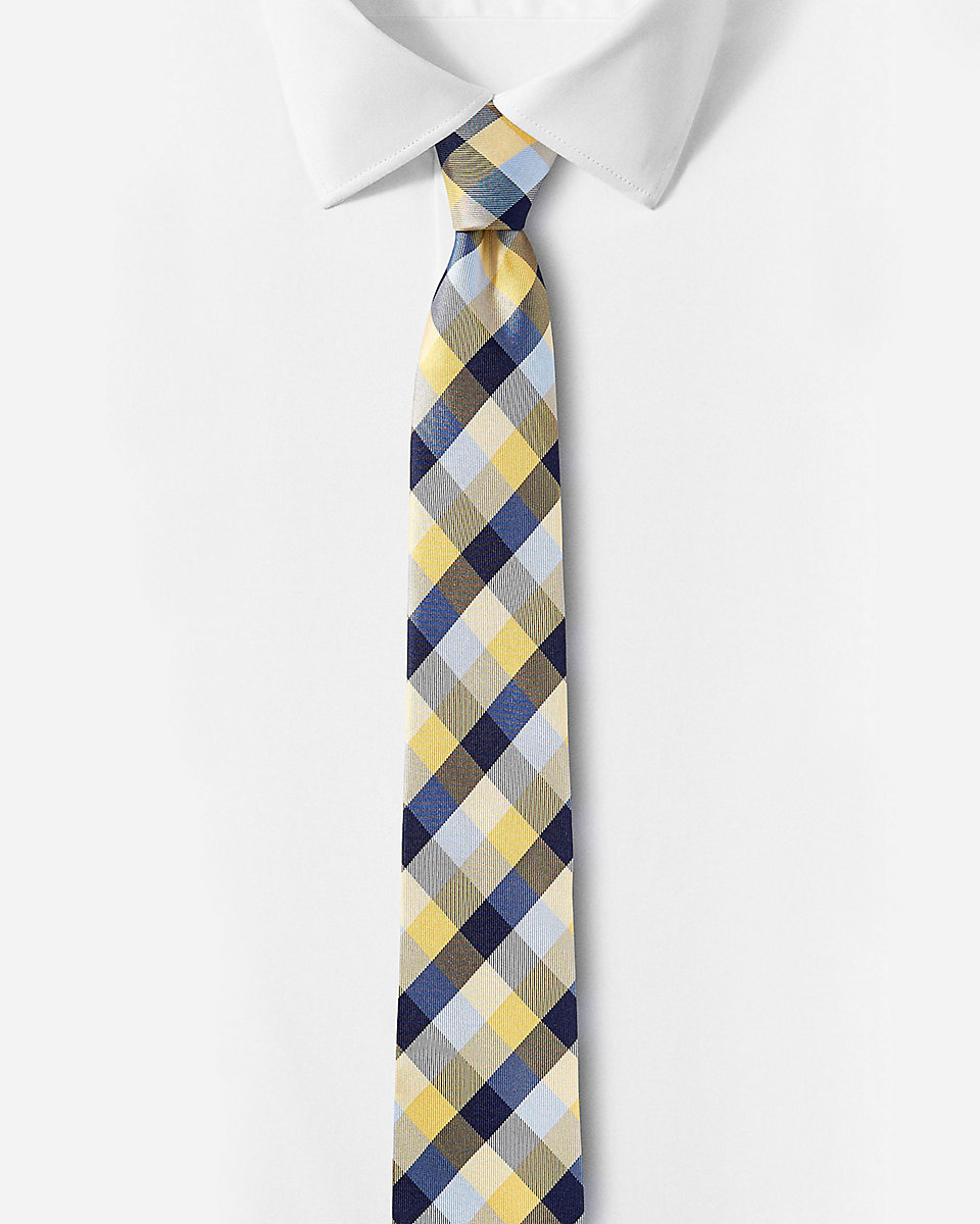 express checked narrow silk tie in blue for lyst