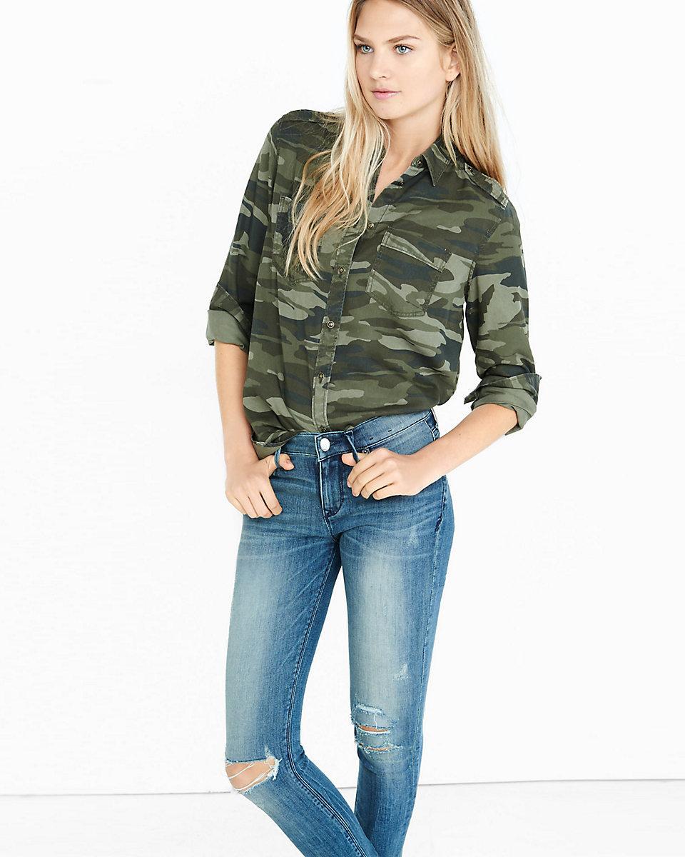 dda46c33 Lyst - Express Camo Silky Soft Twill Boyfriend Shirt in Green