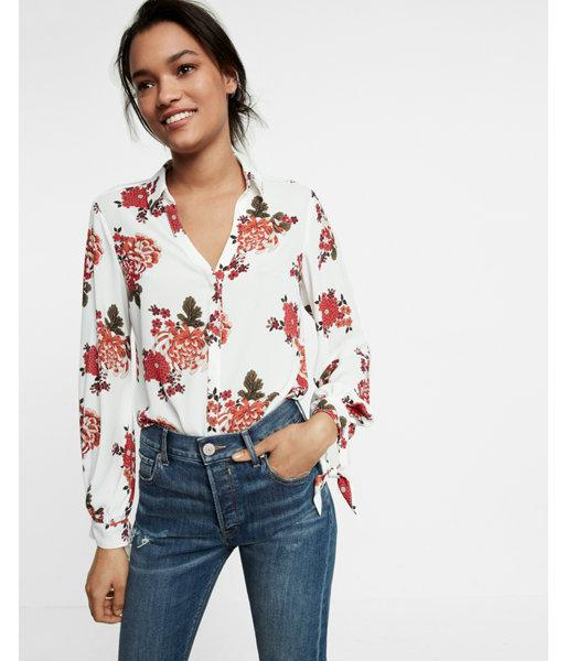 Express slim fit tie cuff floral portofino shirt in red lyst for Express shirt and tie
