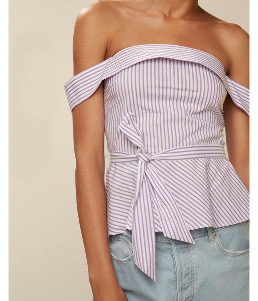 Lyst express striped tie waist peplum top in purple for Express shirt and tie