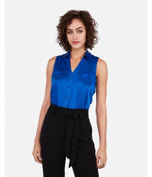 989aebd9596bd Lyst - Express Satin Slim Fit Sleeveless Portofino Shirt in Blue