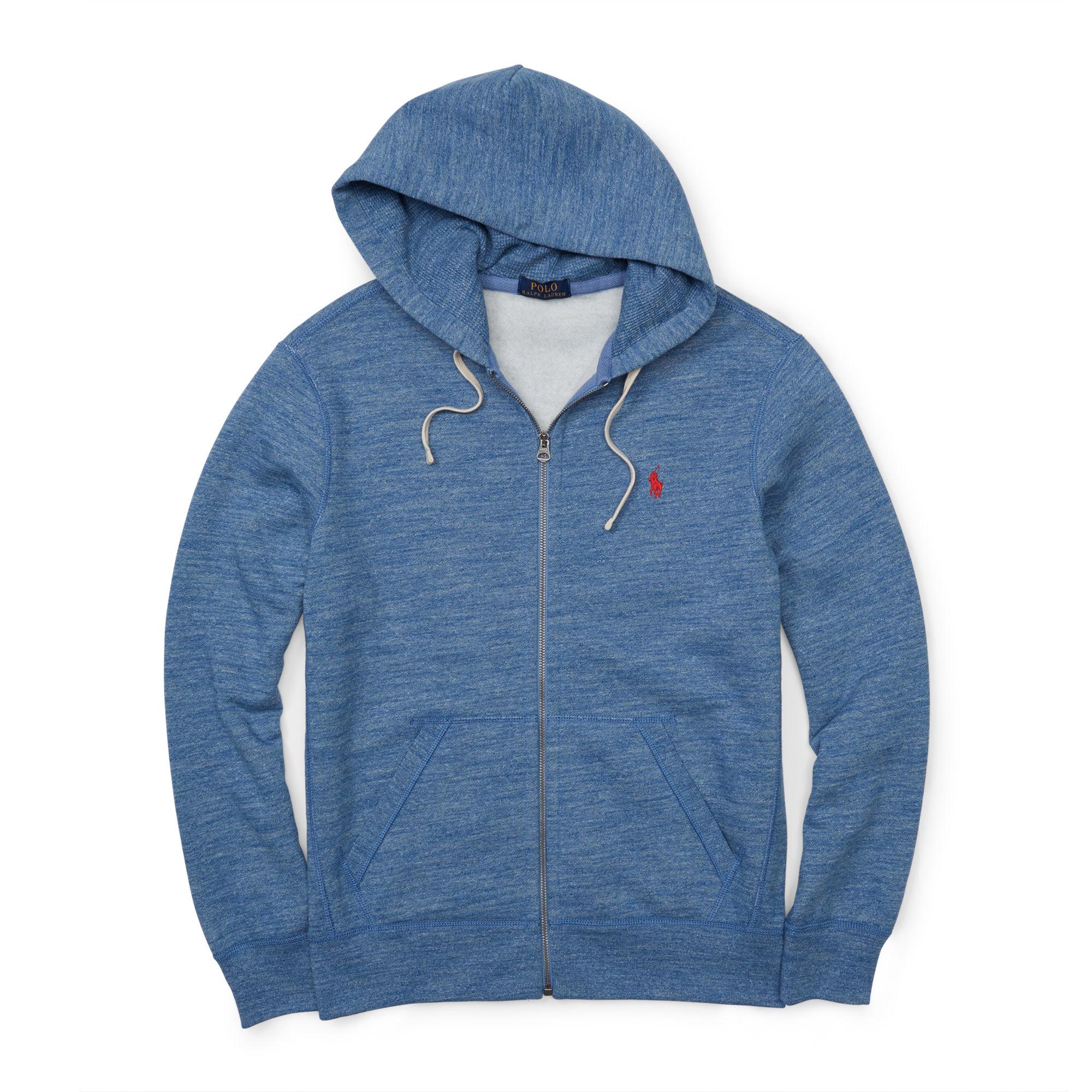polo ralph lauren fleece full zip hoodie in blue for men. Black Bedroom Furniture Sets. Home Design Ideas