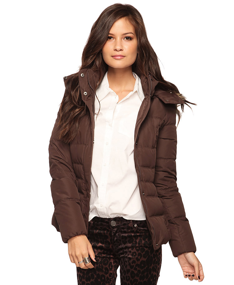 Forever 21 Puffer Jacket W Removable Hood in Brown | Lyst