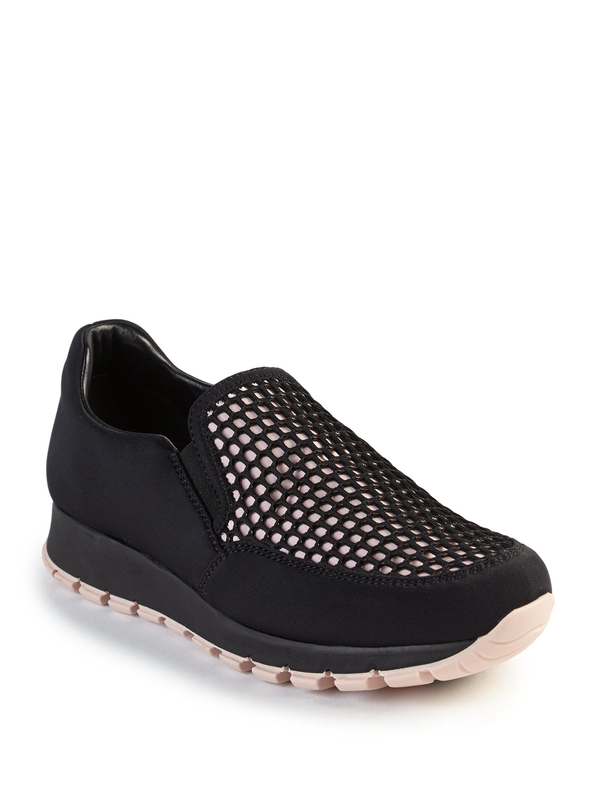 Prada Honeycomb Mesh Slip-on Sneakers in Black
