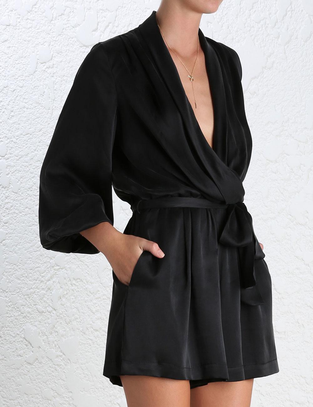 2536d36dc1 Lyst - Zimmermann Sueded Silk Wrap Playsuit in Black