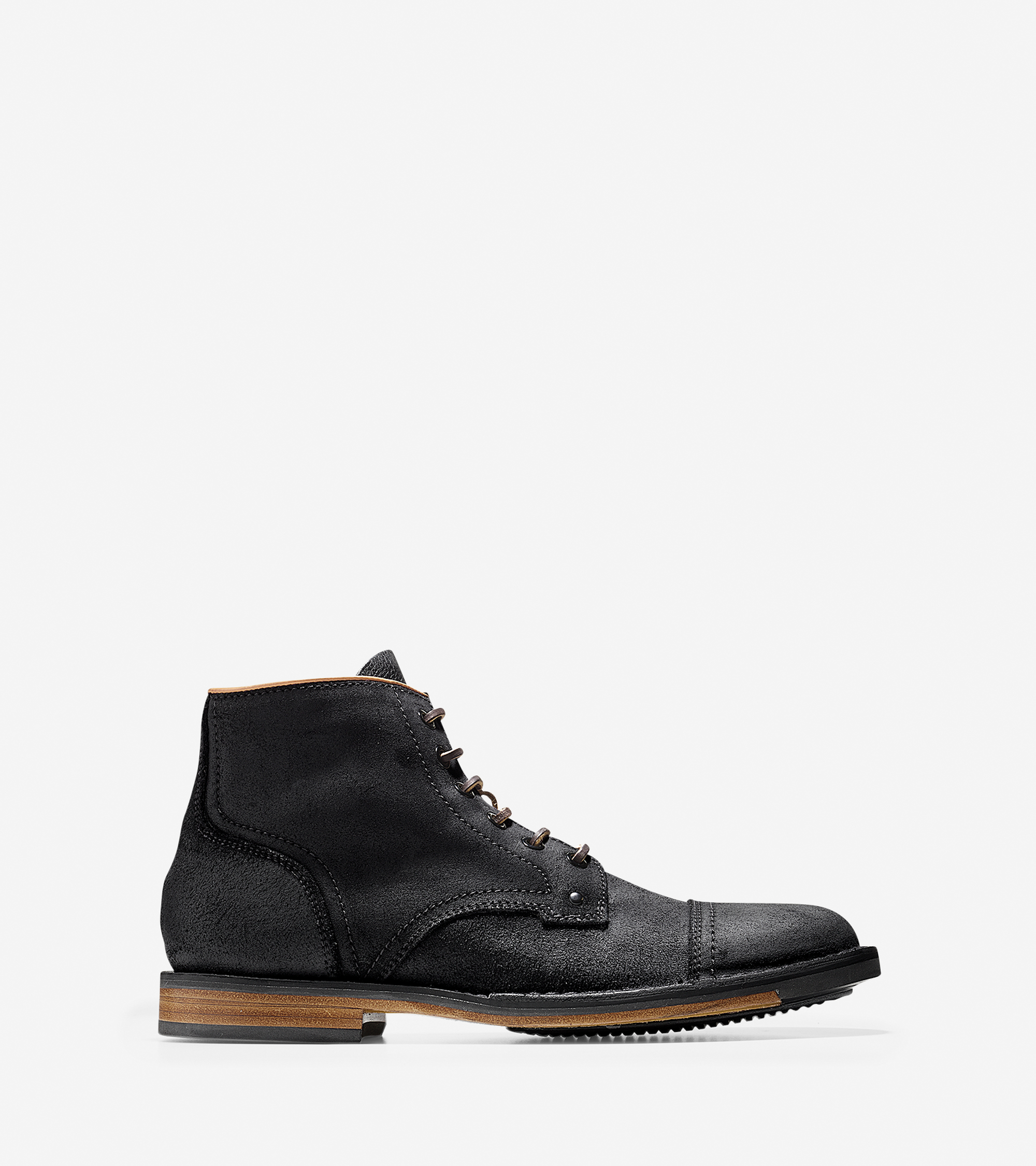 cole haan weston lace boot in black for lyst