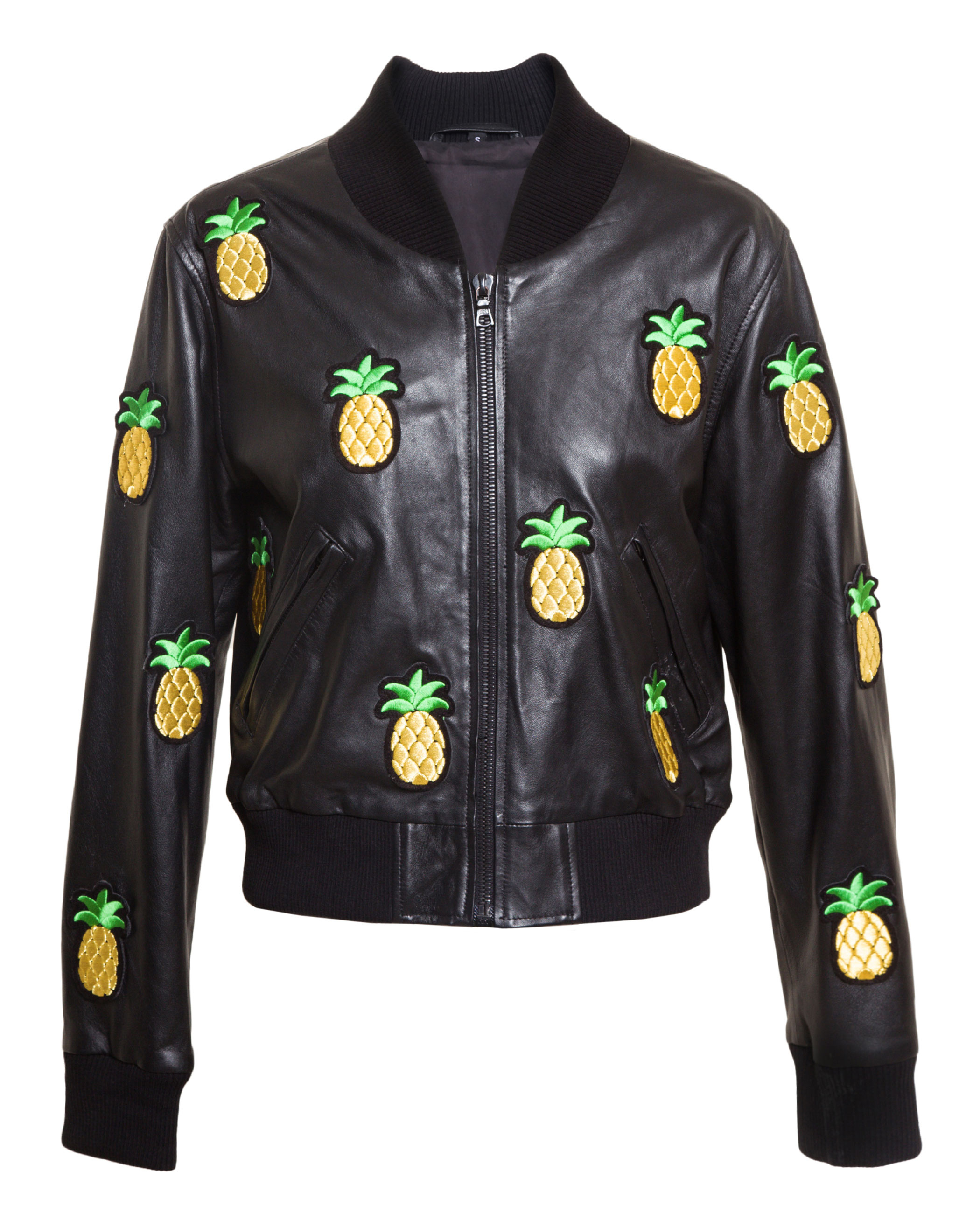 Leather jacket patches - Love Leather Er Jacket With Pineapple Patches In Black