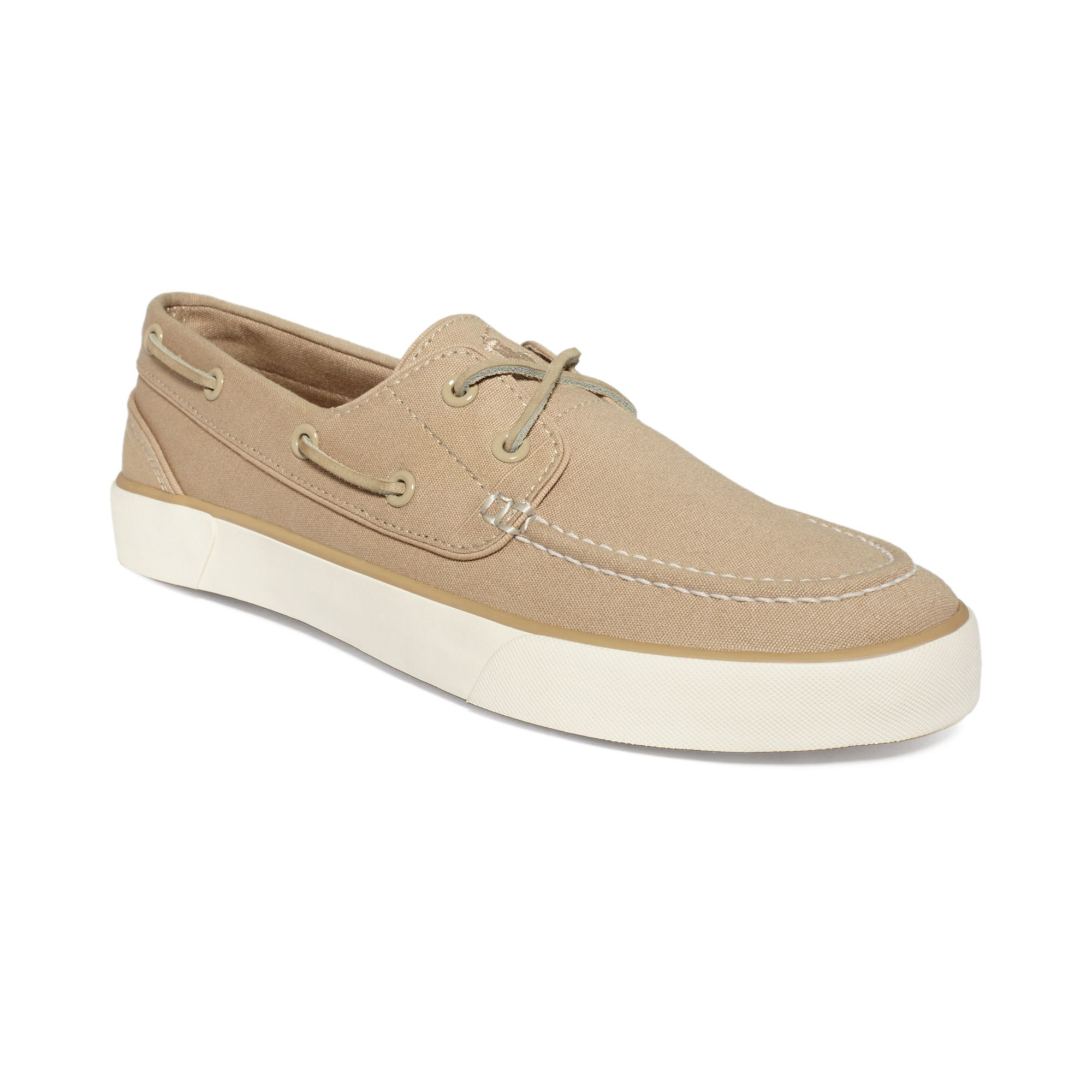 polo ralph sander p boat shoes in khaki for lyst