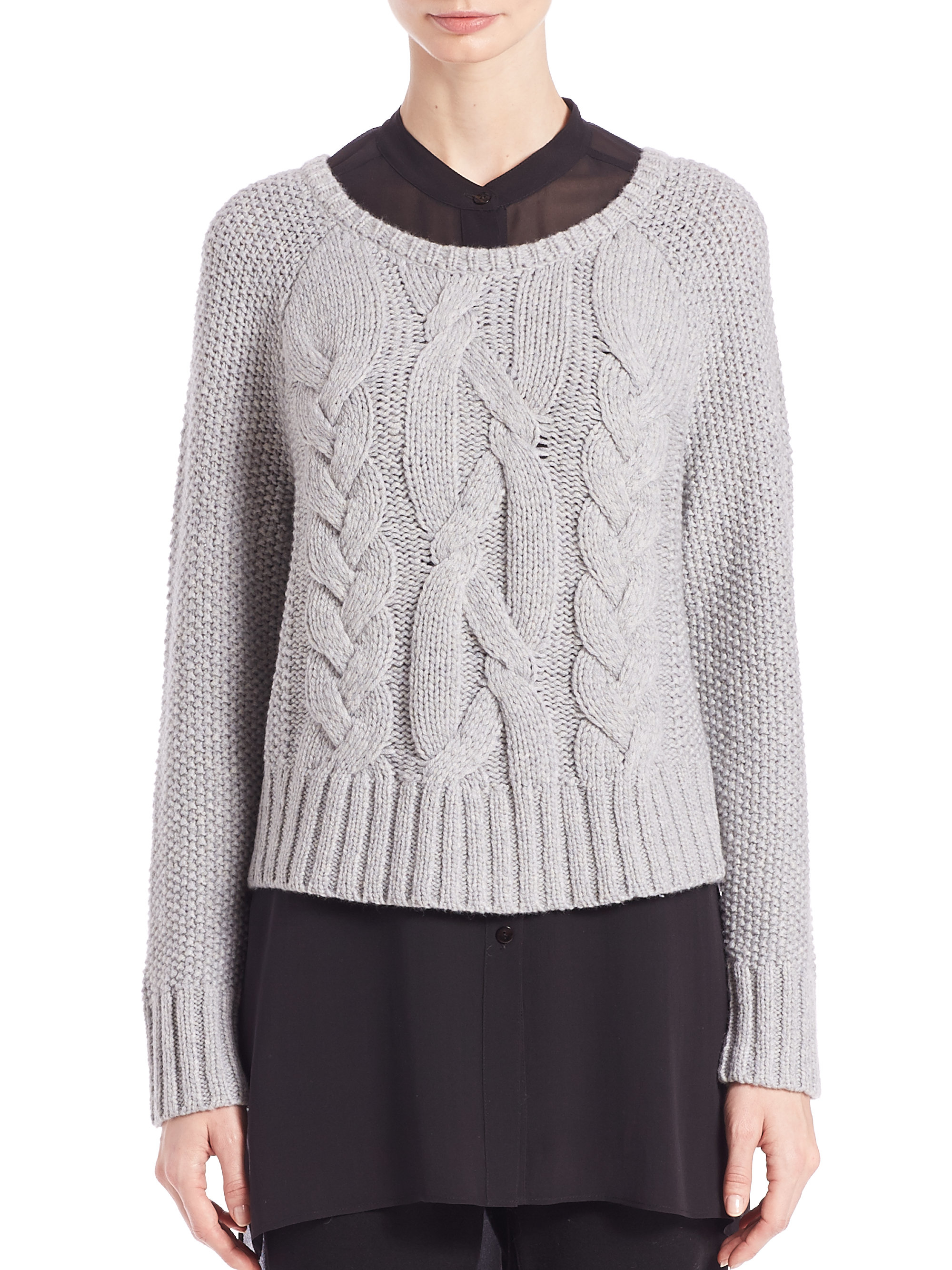 Eileen fisher Cropped Cable-knit Sweater in Gray | Lyst