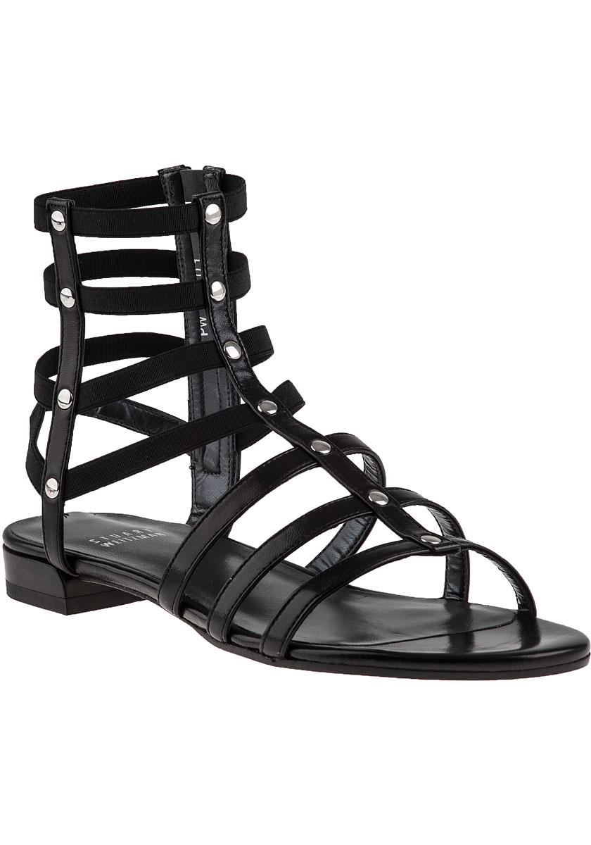 Stuart Weitzman Caesar Leather Gladiator Sandals In Black