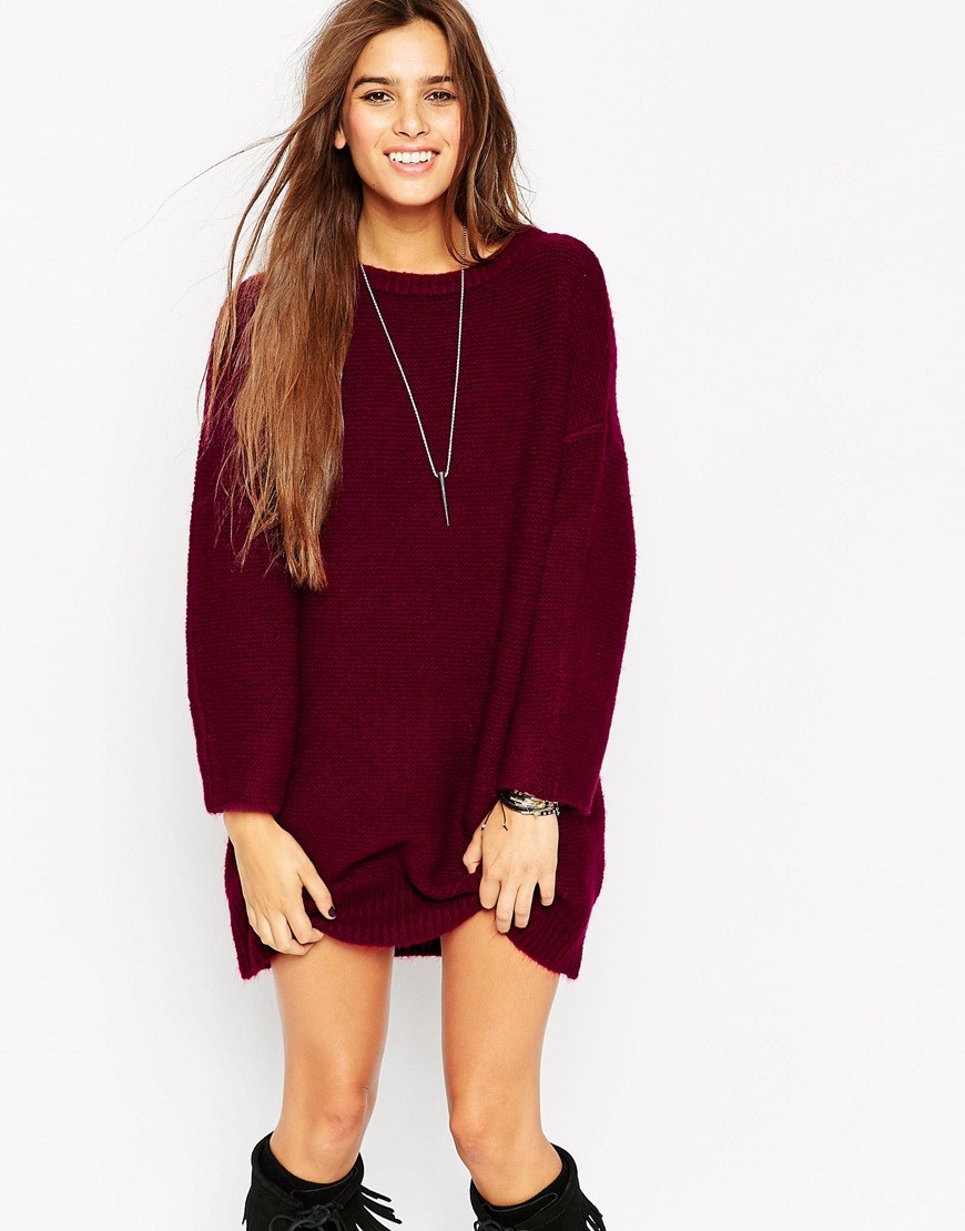 Lyst Asos Oversized Jumper Dress In Chunky Knit In Purple