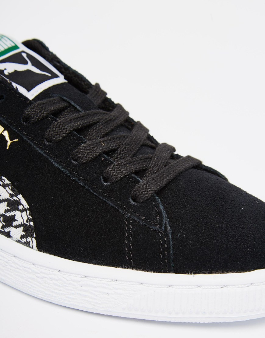 puma suede classic houndstooth sneakers in black. Black Bedroom Furniture Sets. Home Design Ideas