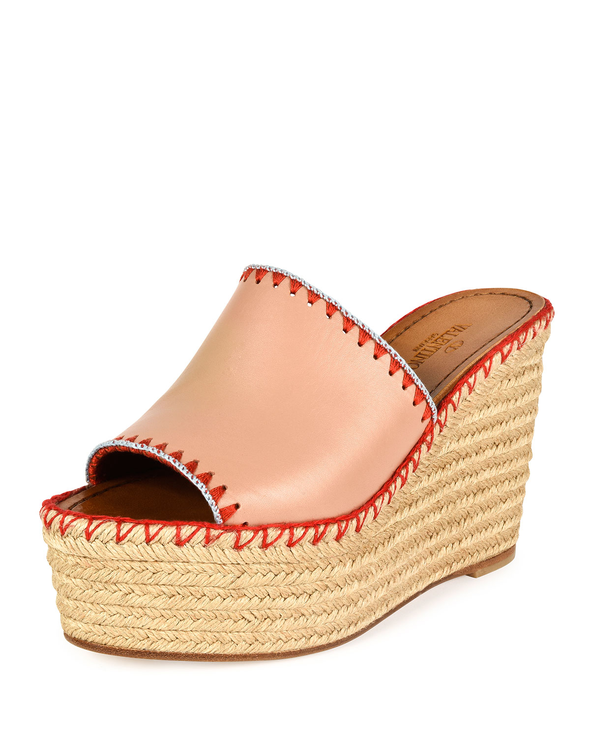 5a34fcea003d Lyst - Valentino Leather Espadrille Wedge Sandals in Natural