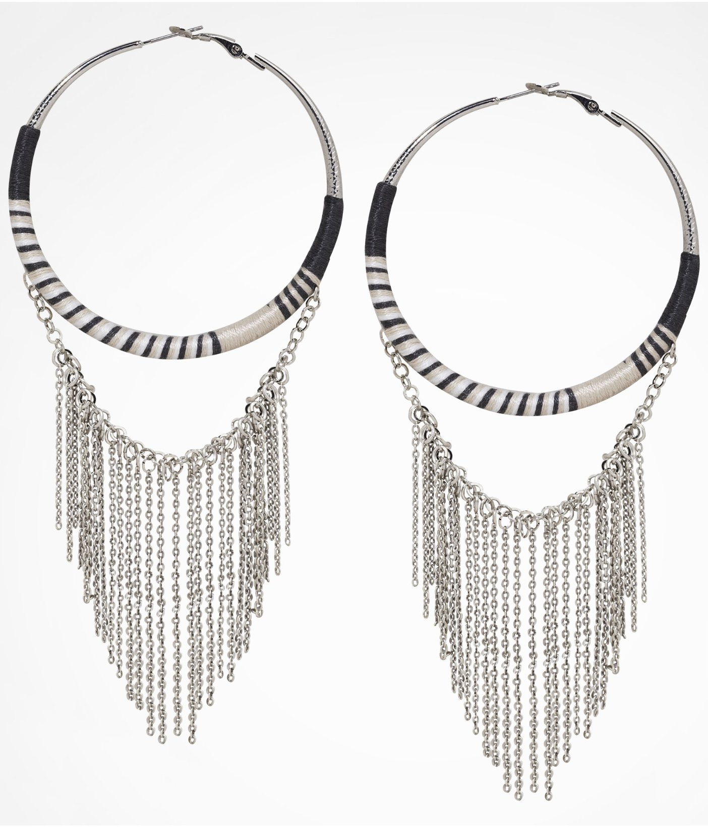 Express Thread Wrapped Chain Fringe Hoop Earrings in Metallic Lyst