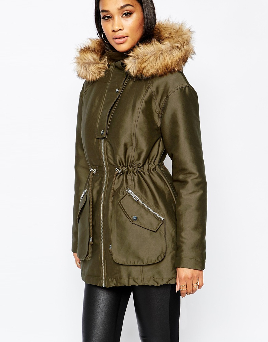 bf15e83bc00f1 Lipsy Michelle Keegan Loves Satin Parka With Faux Fur Trim in Natural - Lyst