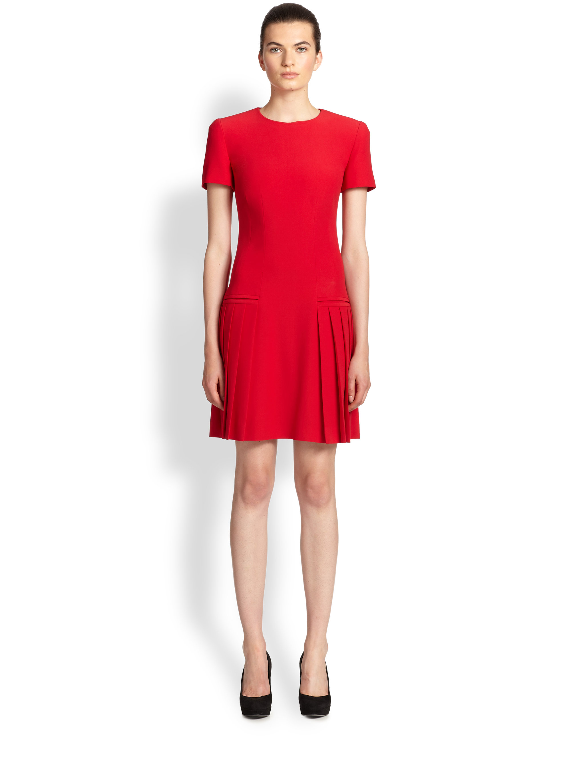 Alexander mcqueen Pleated Dress in Red | Lyst