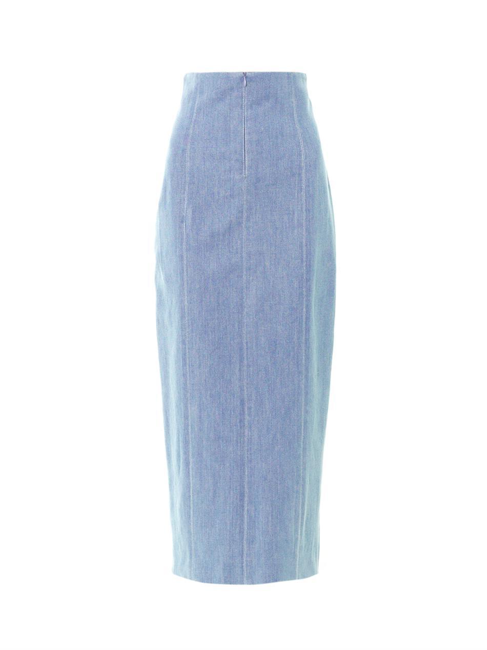 the row asti chambray denim midi skirt in blue lyst