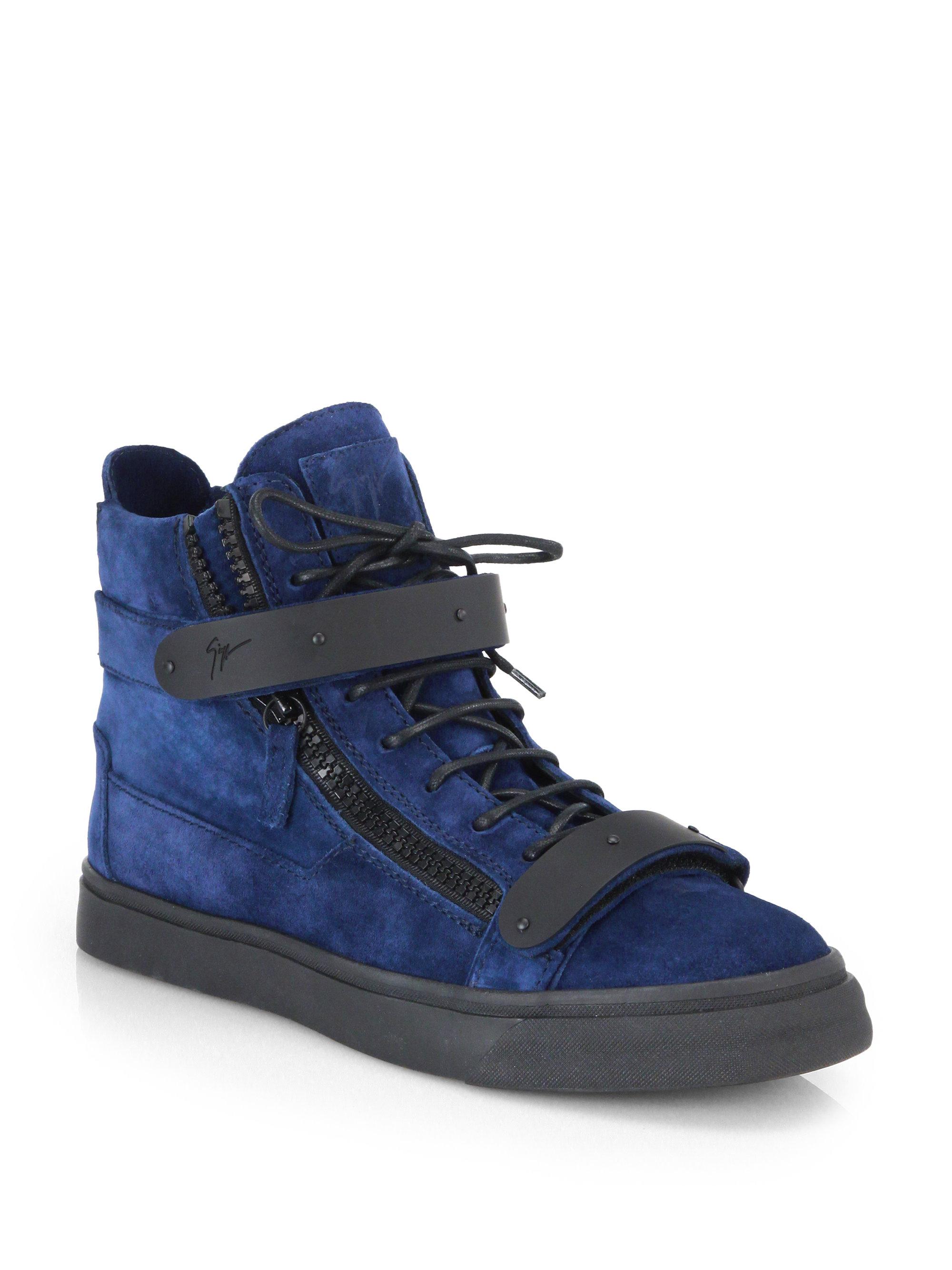 Giuseppe Zanotti Matte Double Bar High Top Sneakers In