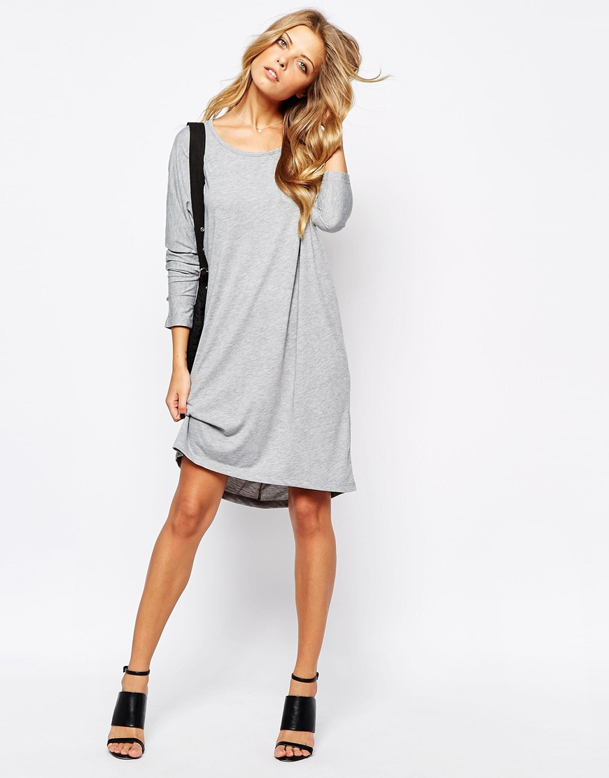 ae0a73da1d Lyst - Vila Long Sleeve T-shirt Dress in Gray