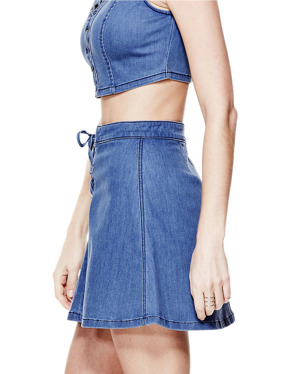 guess flared lace up denim skirt in blue lyst