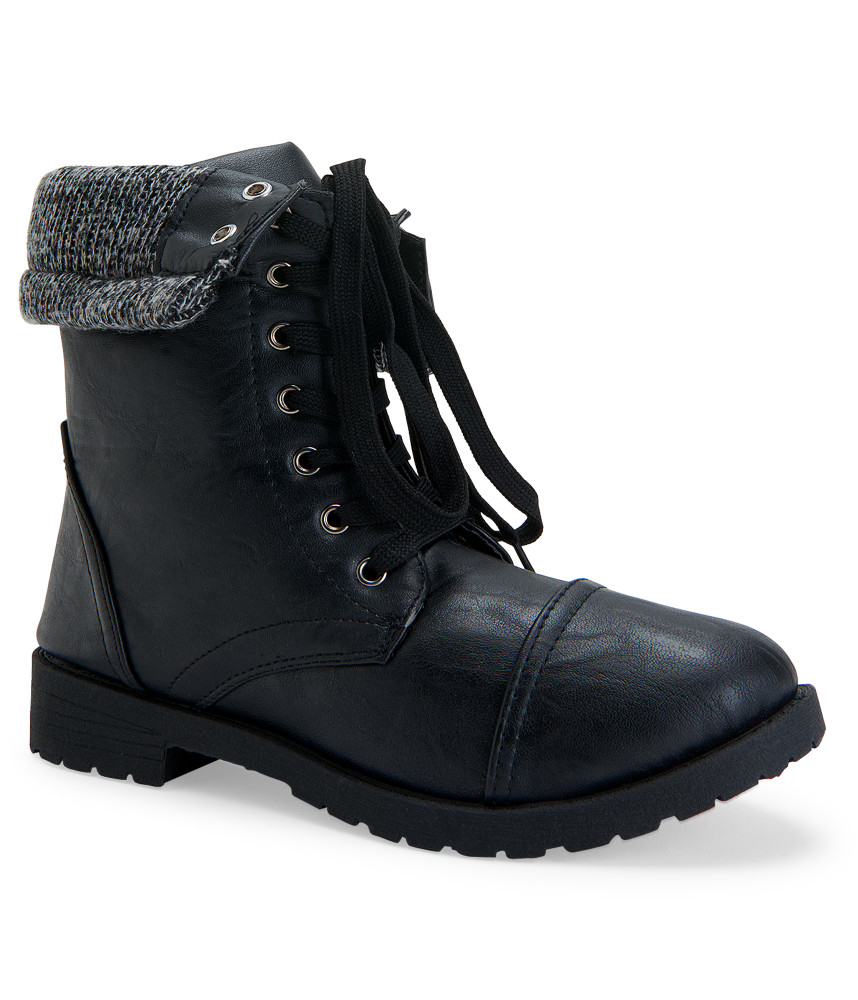 blue suede shoes sweater trim combat boot in black lyst