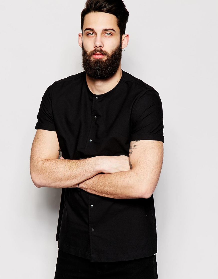 Collarless Black Shirt | Is Shirt