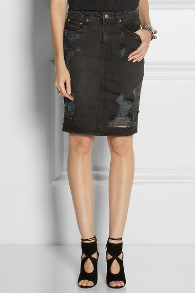 ksubi distressed denim skirt in black lyst