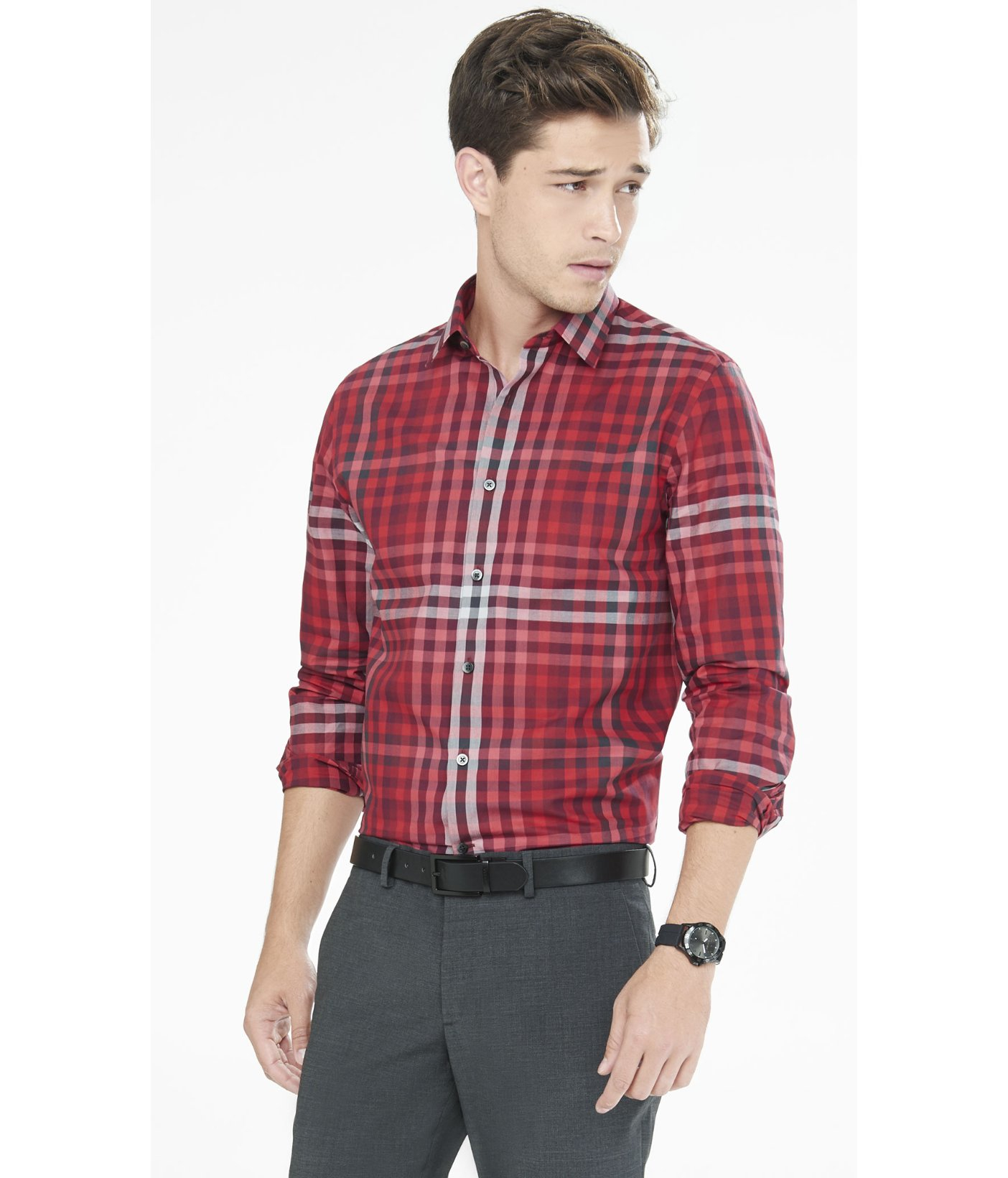 Express modern fit ombre plaid dress shirt in red for men for Modern fit dress shirt