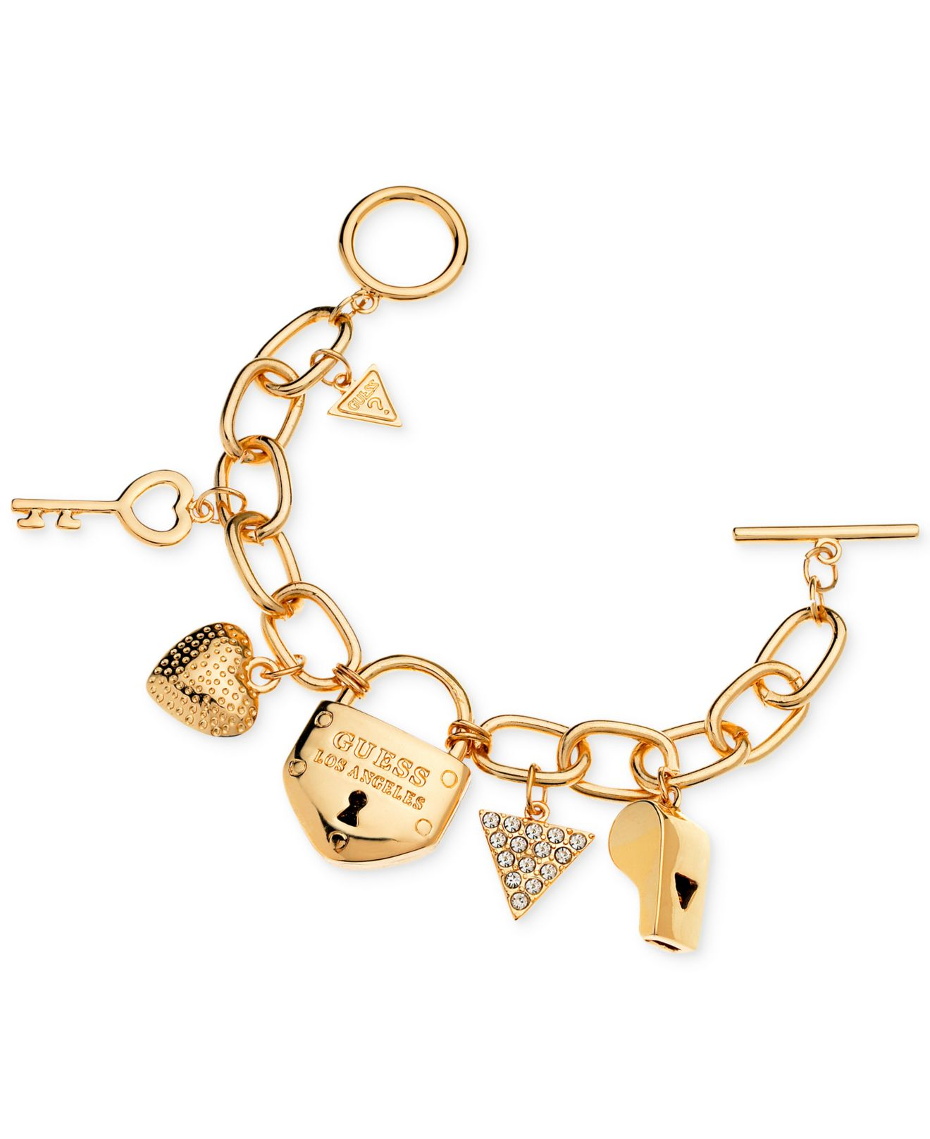 Lyst Guess Gold Tone Charm Bracelet In Metallic