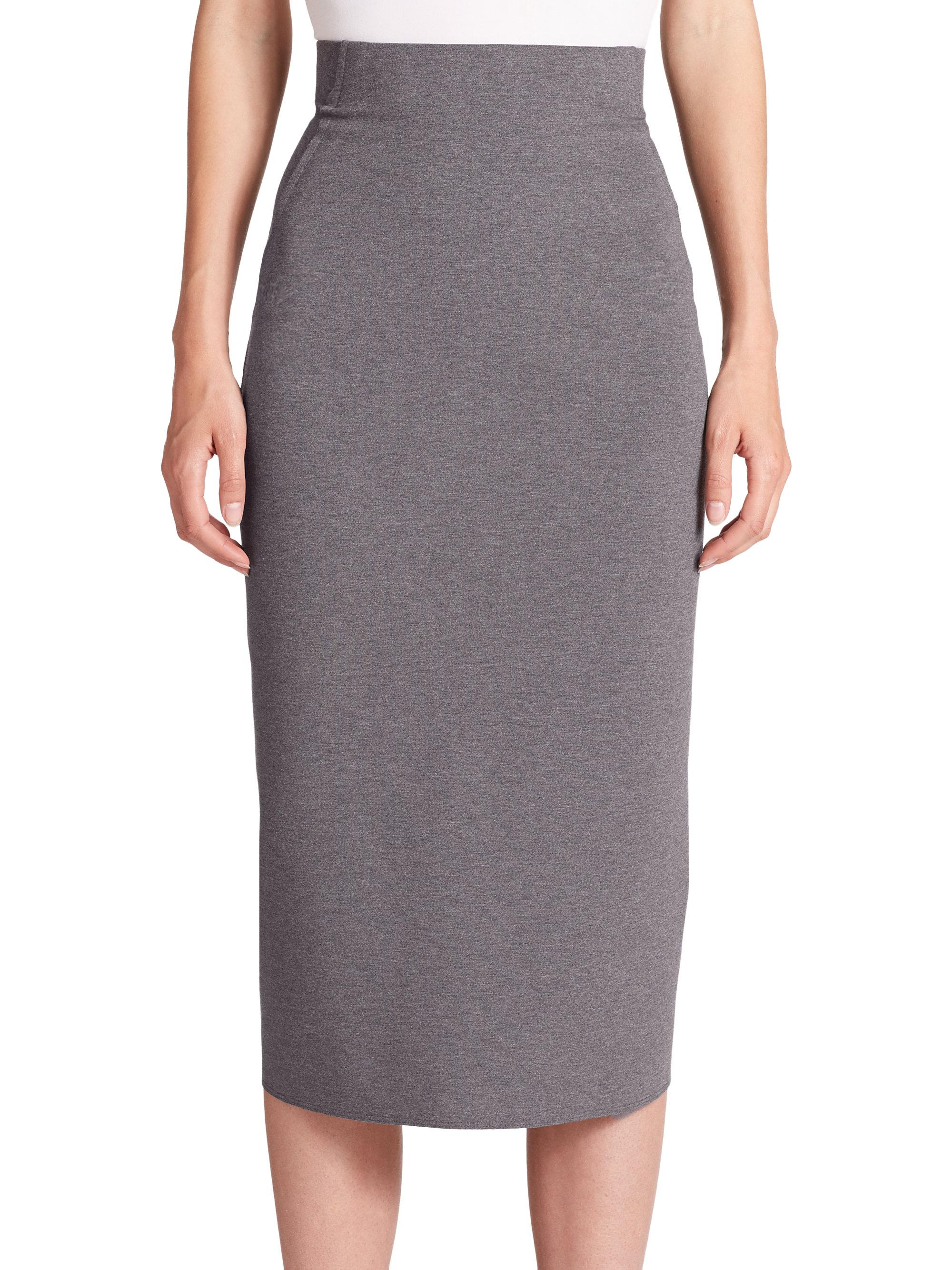 Donna karan Jersey High-waist Pencil Skirt in Gray | Lyst