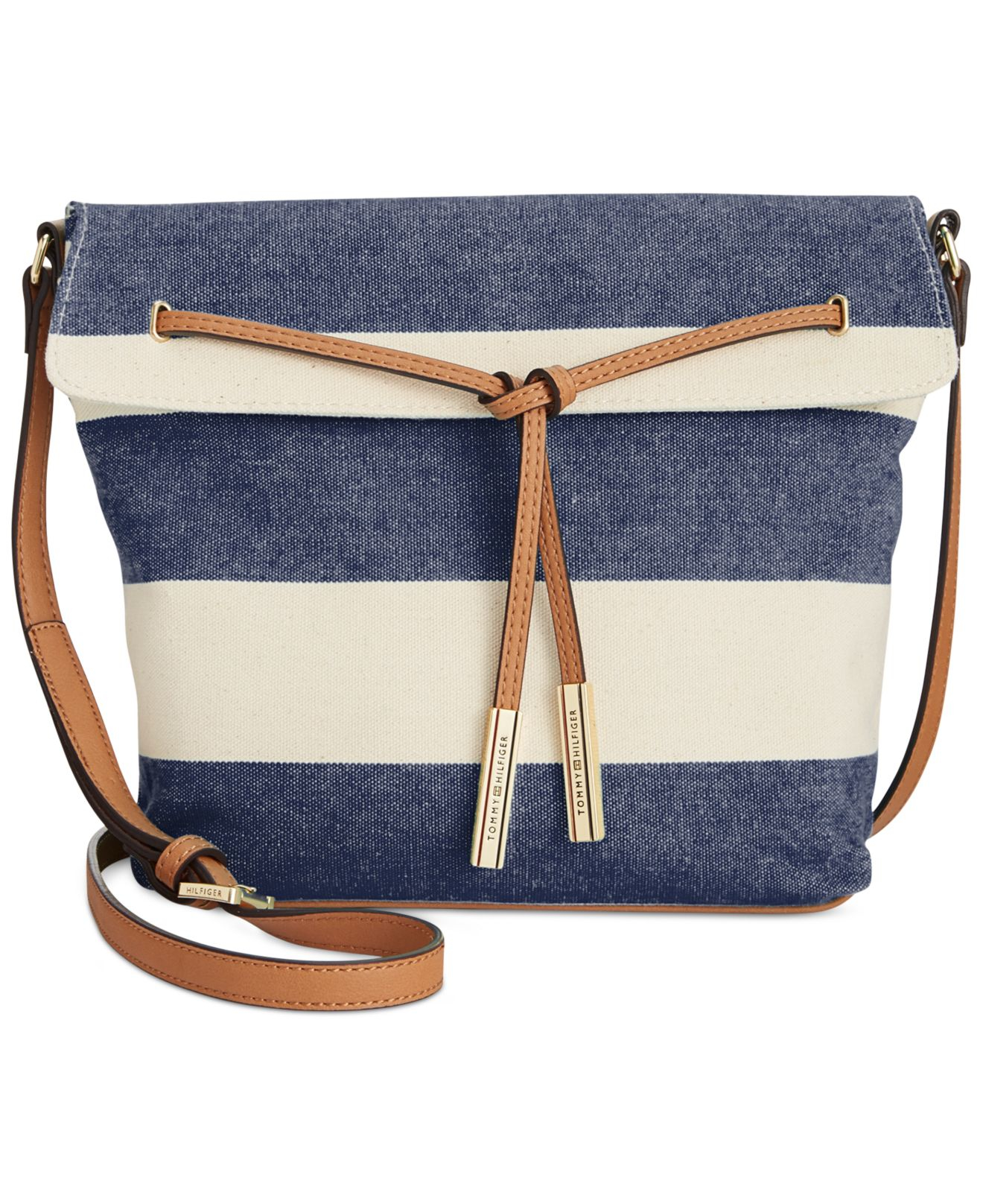 4ddb73d317c Tommy Hilfiger Emma Woven Rugby Stripe Drawstring Crossbody in Blue ...