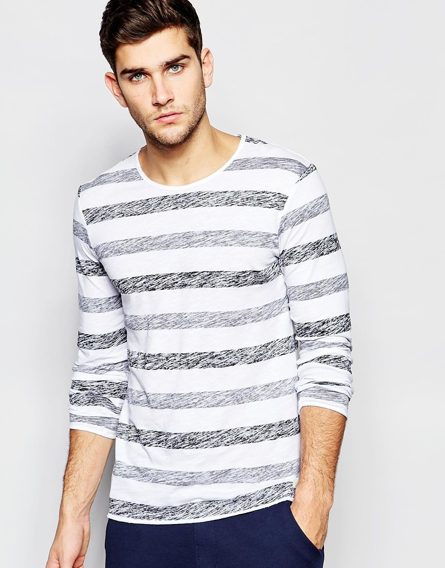 Lyst esprit long sleeve t shirt with stripes in gray for men for Grey long sleeve shirts