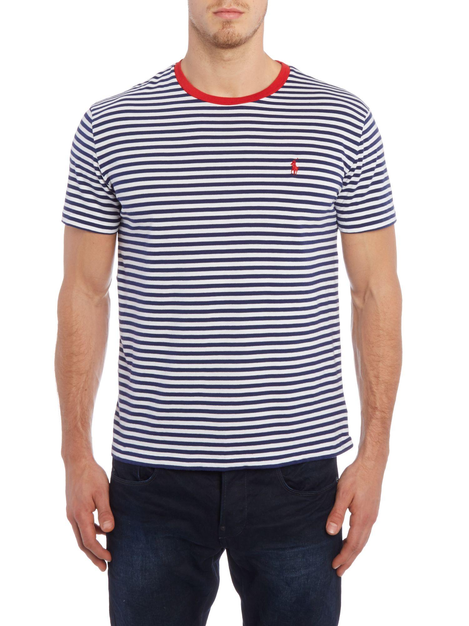 Polo Ralph Lauren Fine Stripe Crew Neck Pocket T Shirt In