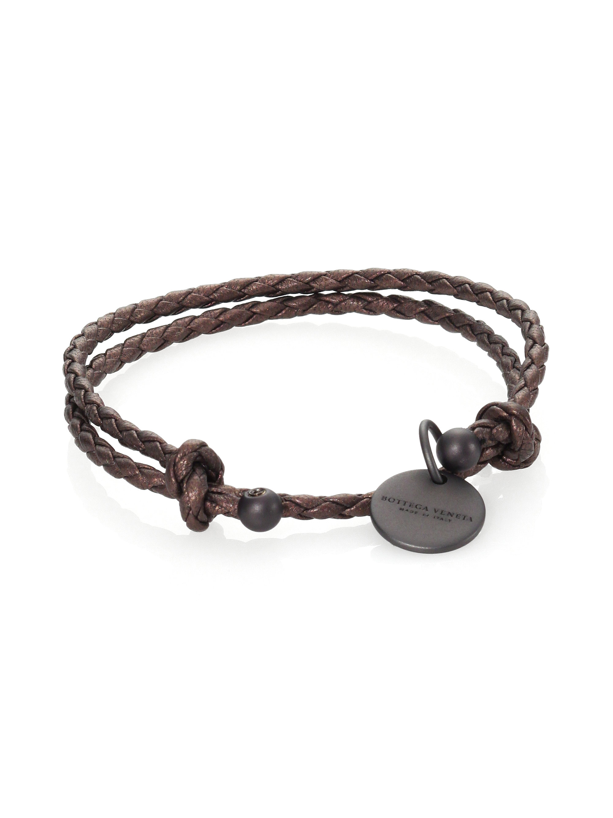 bottega veneta braided leather charm bracelet in brown