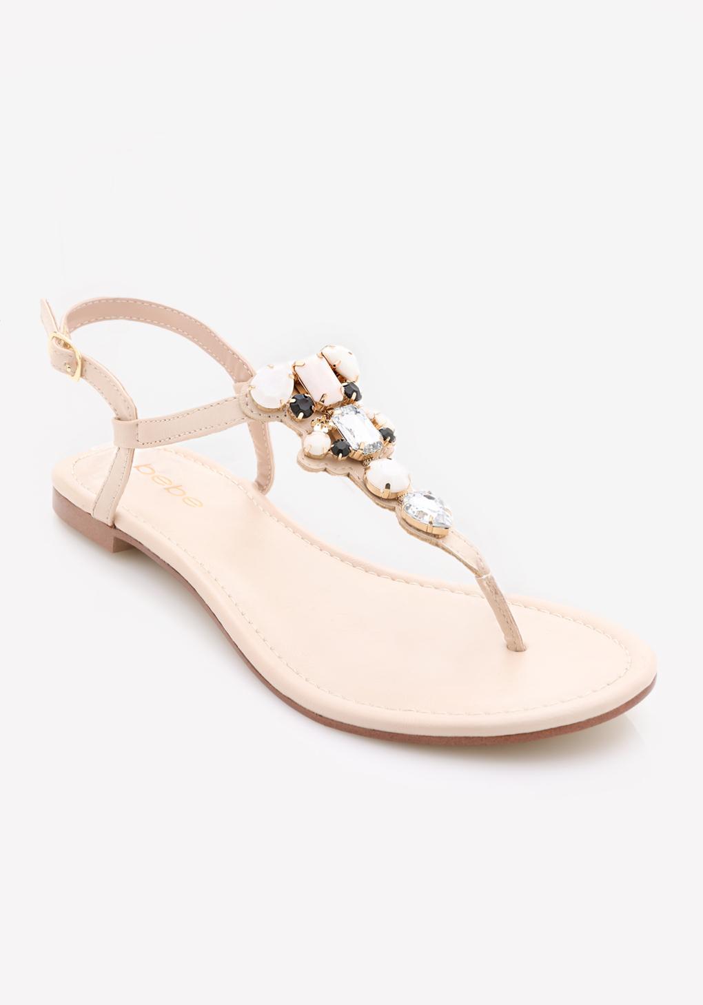 06db24061c1f9c Lyst - Bebe Shaya Jeweled Flat Sandals in Pink