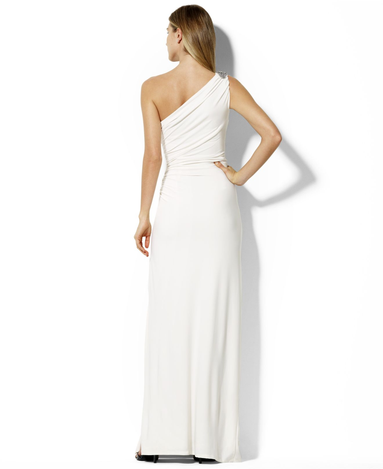 Lyst - Lauren By Ralph Lauren One-Shoulder Brooch Gown in White