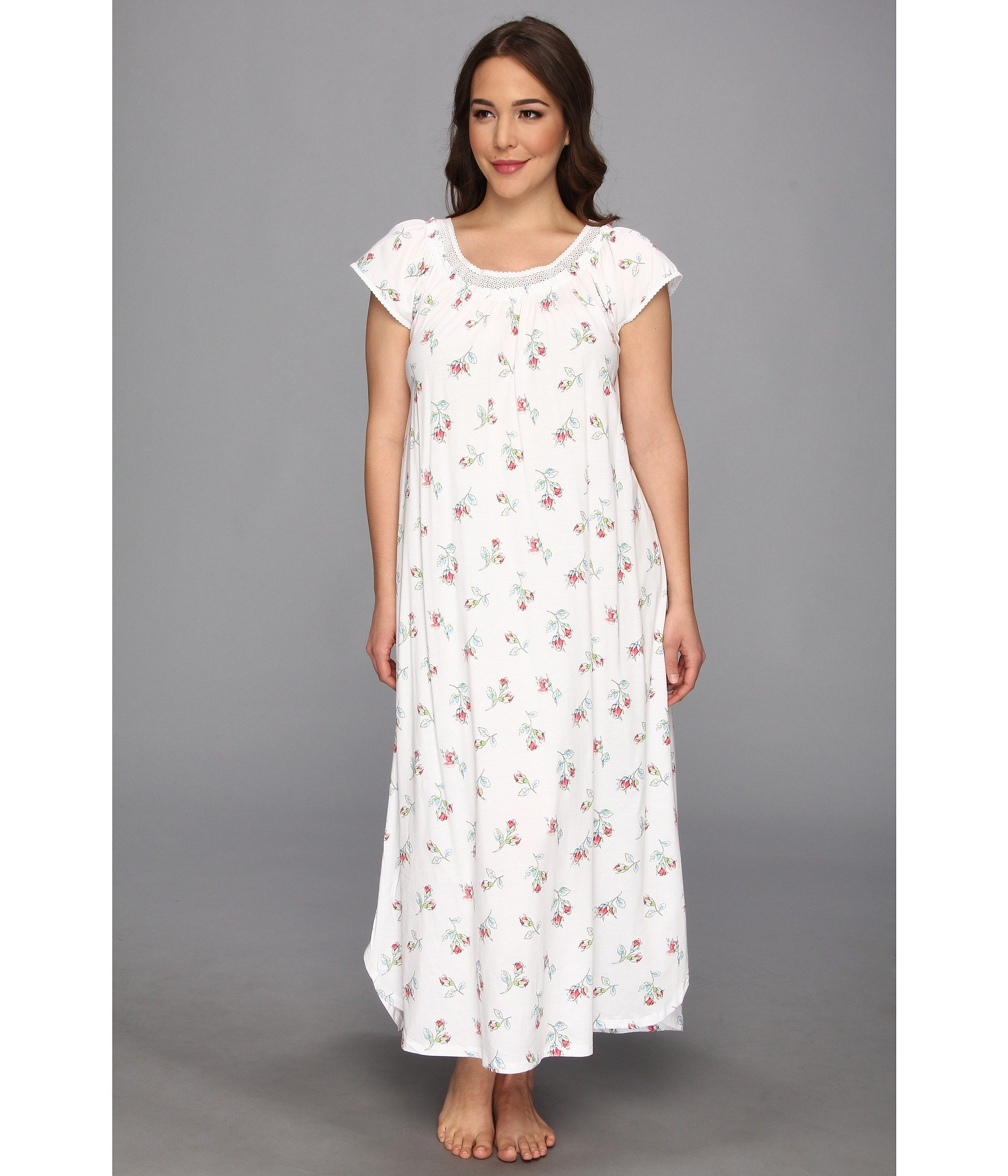 Lyst - Carole Hochman Plus Size Whistful Rosebuds Long Nightgown in ...