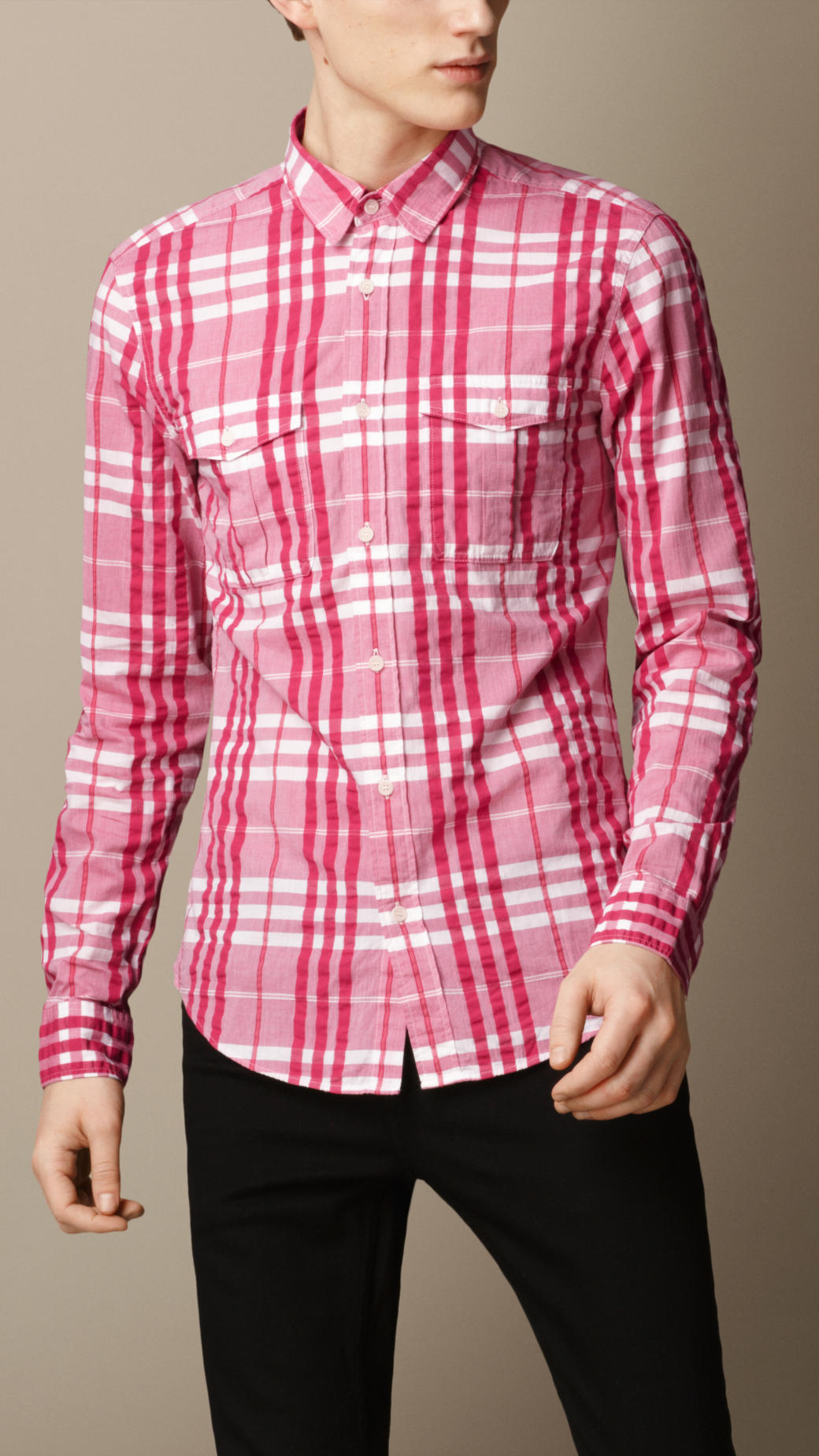 Lyst - Burberry Check Cotton Seersucker Shirt in Pink for Men