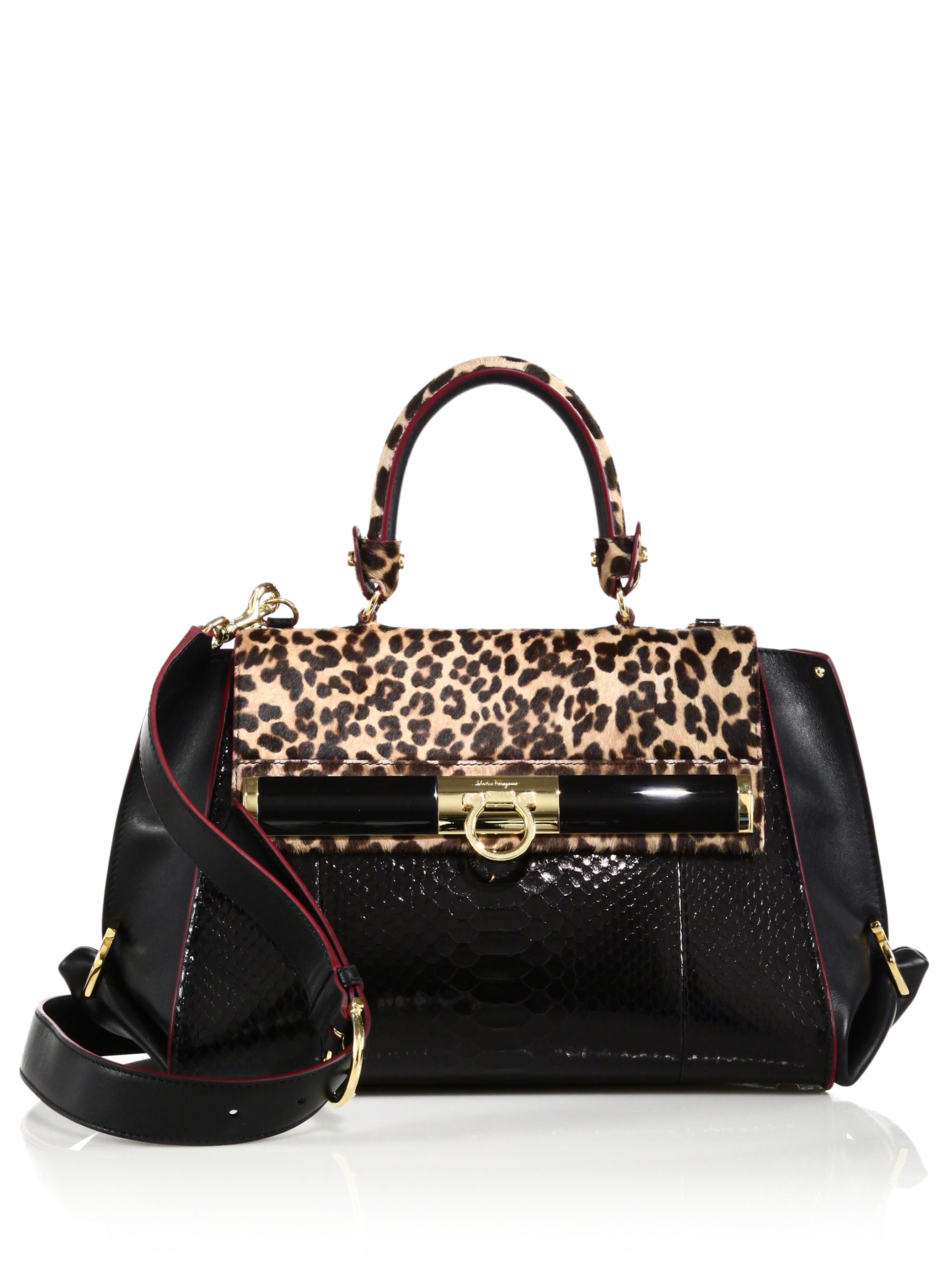 63a45f76711a Ferragamo Sofia Medium Leopard-print Calf Hair, Python & Leather ...
