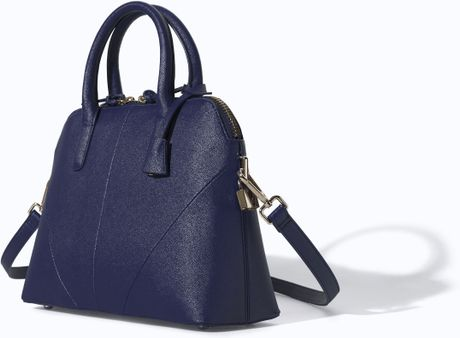 Zara Saffiano Leather Minicity Bag in Blue (Navy blue)