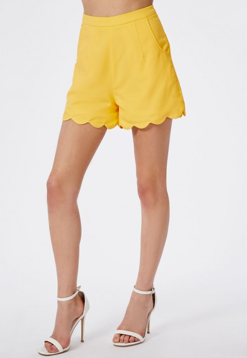 Missguided Luisina Lemon High Waisted Scalloped Shorts in Yellow ...
