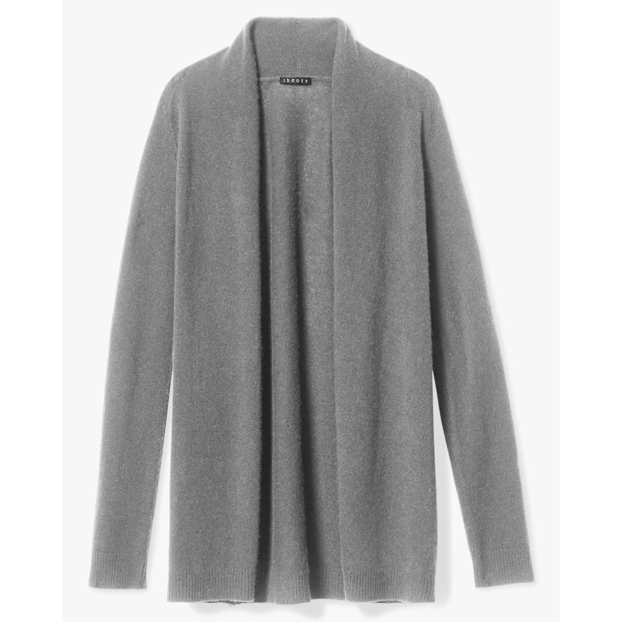 Theory Light Wool Open Cardigan in Gray | Lyst