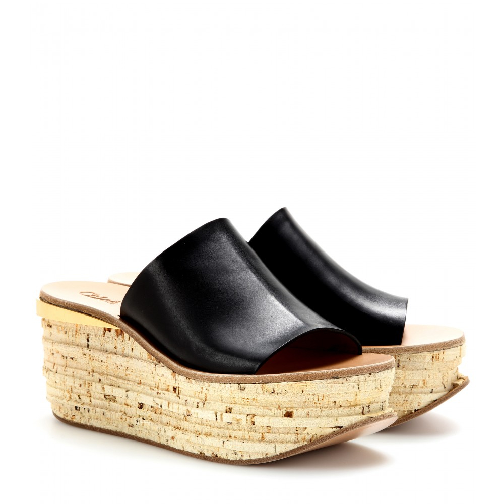 Chlo 233 Camille Leather Cork Wedge Mules In Black Lyst