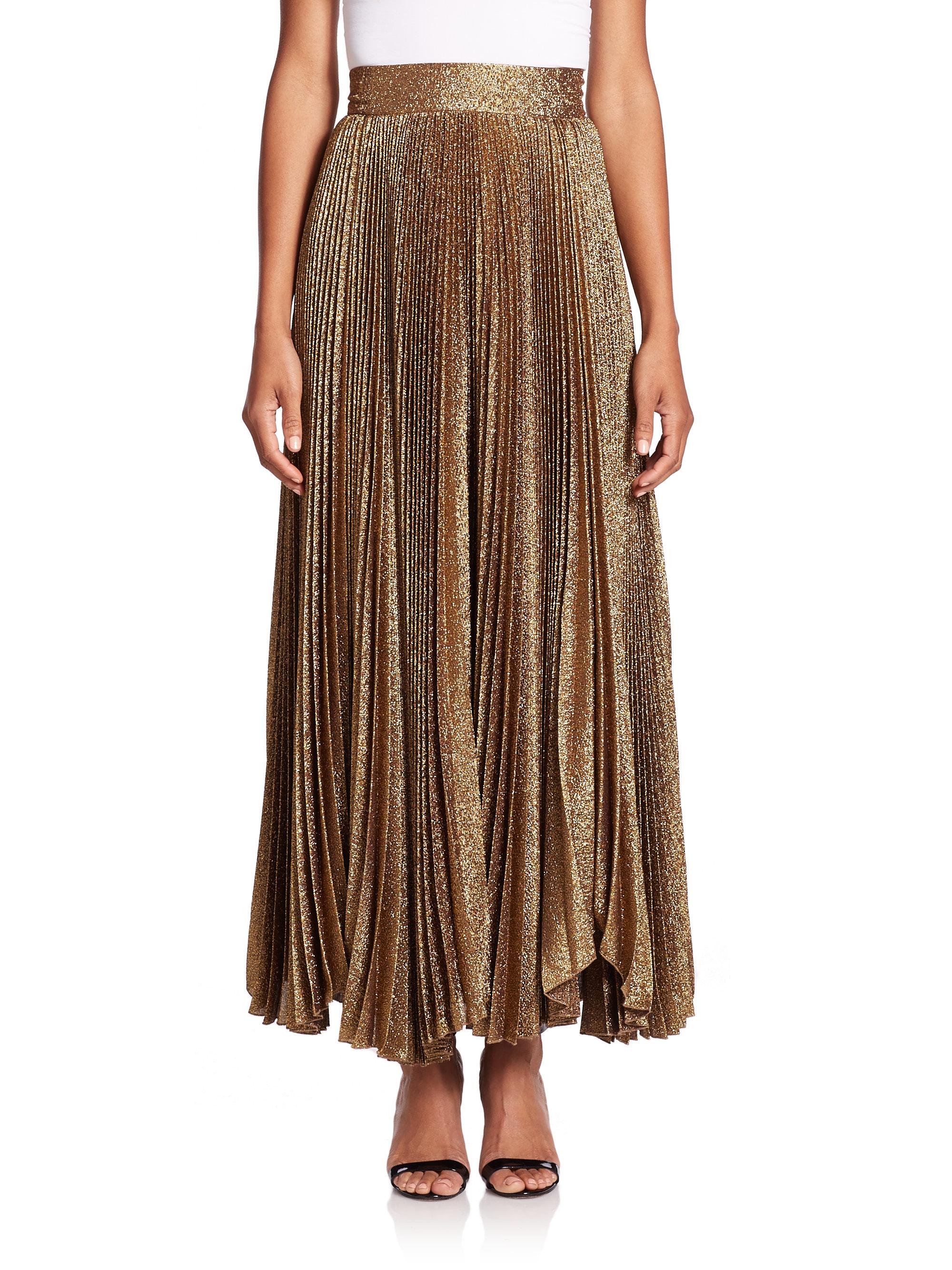 katz sunburst pleated maxi skirt in
