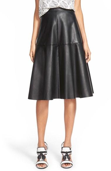 joa faux leather midi skirt in black lyst
